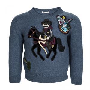 Dolce and Gabbana Blue Wool Sicilian Western Sweater 5 Yrs
