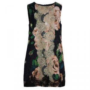 Dolce And Gabbana Black Floral Print Lace Detail Sleeveless Dress 9/10 Yrs