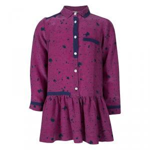 فستان فندي بأكمام طويلة مكشكشة حرير مطبوع وردي 6 سنوات