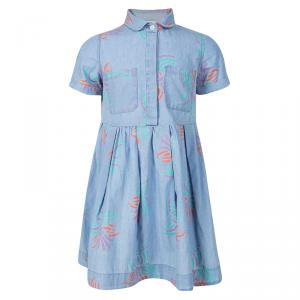 فستان فندي مكشكش بأكمام قصيرة نقوش شامبري أزرق 5 سنوات