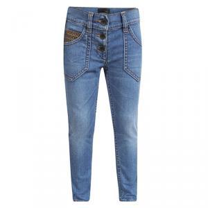 بنطلون جينز سكيني فندي كيدز دينيم أزرق فاتح بأزرار مقاس 6سنوات