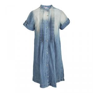 Junior Gaultier Indigo Light Wash Faded Effect Denim Pintuck Detail Dress 10 Yrs