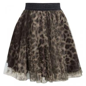 Jean Paul Gaultier Junior Animal Printed Mesh Layered Circular Skirt 6 Yrs