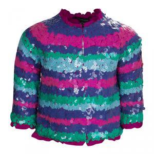 Little Marc Jacobs Multicolor Sequin Embellished Striped Jacket 6 Yrs