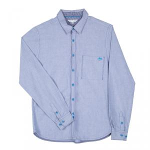 Little Marc Jacobs Blue Cotton Chambray Long Sleeve Button Front Shirt 12+ Yrs