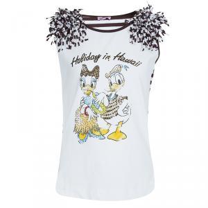 Monnalisa White Striped Donald and Daisy Duck Print Embellished Sleeveless T-Shirt 10 Yrs