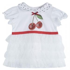 فستان موناليزا أبيض مطبوع طبقات 6 أشهر
