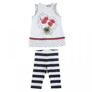 Monnalisa Bebe White Printed Jersey Tunic and Leggings Set 6 Months