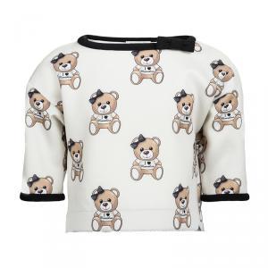 Monnalisa Cream Knit Teddy Bear Print Top 4 Yrs