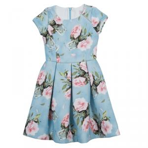 فستان موناليزا أزرق مورد بأكمام قصيرة مقاس 5 سنوات