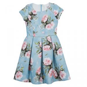 Monnalisa Blue Floral Print Short Sleeve Dress 5 years