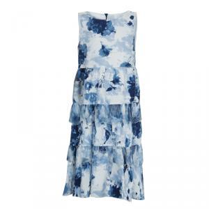 فستان موناليزا أزرق طباعة موردة طبقات بلا أكمام 8 سنوات