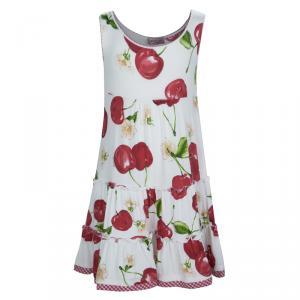 فستان موناليزا جيرسيه أبيض طباعة شيري بلا أكمام طبقات 5 سنوات