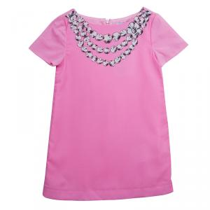 Moschino Kids Pink Necklace Print Short Sleeve Dress 4 Yrs