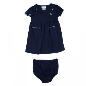 Ralph Lauren Navy Blue Knit Dress And Bloomer Set 6 Months
