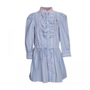 Ralph Lauren Blue Striped Ruffle Detail Shirt Dress 5 Yrs