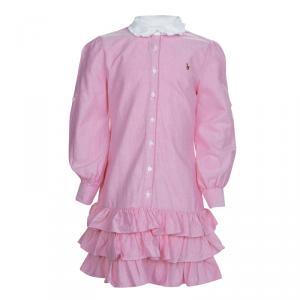 Ralph Lauren Pink Tiered Ruffle Bottom Shirt Dress 6 Yrs