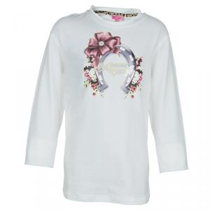 Roberto Cavalli Angels White Horseshoe Graphic Long Sleeve T-shirt 10 Yrs