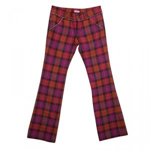 Roberto Cavalli Multicolor Checked Wool Trousers XS