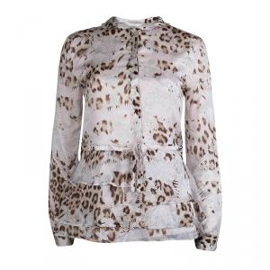 Roberto Cavalli Leopard Print Long Sleeve Peplum Shirt M