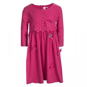 Rykiel Enfant Pink Eyelet Embroidered Floral Applique Detail Dress 10 Yrs