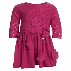 Rykiel Enfant Pink Eyelet Embroidered Floral Applique Detail Dress 2 Yrs