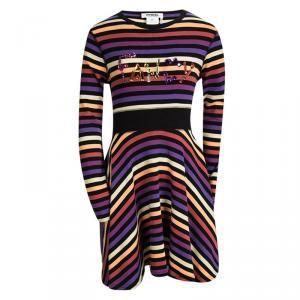 Rykiel Enfant Multicolor Striped Embellished Long Sleeve Dress 10 Yrs