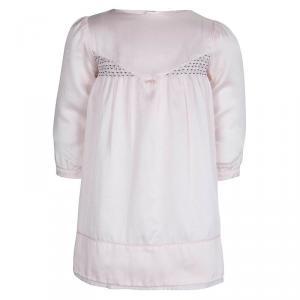 Tartine Et Chocolat Pale Pink Satin Long Sleeve Dress 1 Yr