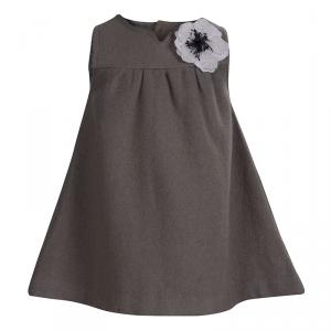Tartine Et Chocolat Grey Wool Floral Applique Sleeveless Dress 6 months