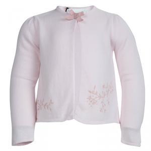 Tartine Et Chocolat Blush Pink Printed Bow Detail Cardigan 2 Yrs