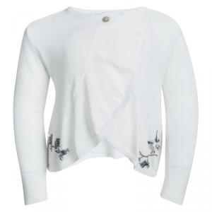 Tartine et Chocolat White Knit Sequin Embellished Ruffle Front Cardigan 2 Yrs