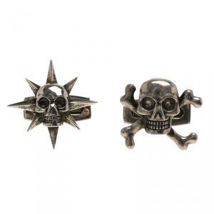 Alexander Mcqueen Asymmetric Star & Skull Silver Tone Cufflinks