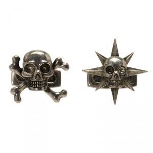 Alexander McQueen Asymmetric Skulls Silver Tone Cufflinks