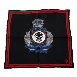 Alexander McQueen Black Military Skull Badge Silk Pocket Square