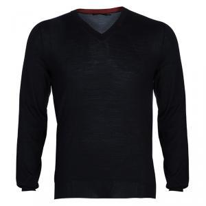 Alexander McQueen Black Knit V-Neck Sweater L