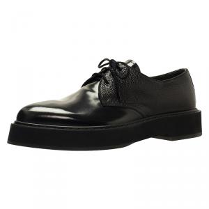 Alexander McQueen Black Leather Platform Derby Size 44