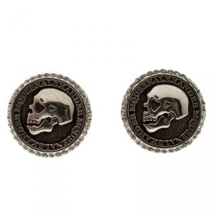 Alexander McQueen Skull Coin Silver Tone Cufflinks