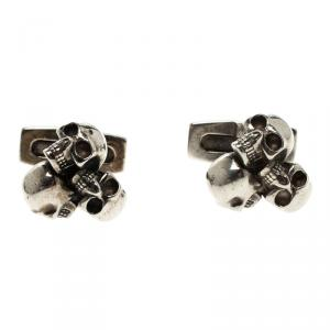 Alexander McQueen 3 Skull Silver Tone Cufflinks