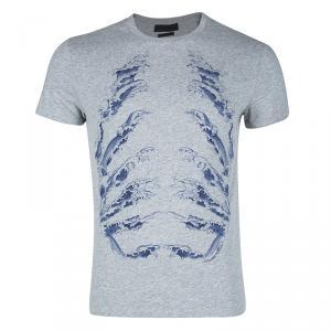 Alexander McQueen Grey Ribcage Wave Print T-Shirt M