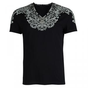 Alexander McQueen Black Floral Print V-Neck T-Shirt L