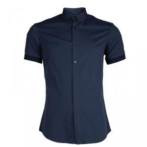Alexander Mcqueen Navy Blue Rib Trim Short Sleeve Buttondown Cotton Shirt XL