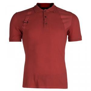 Alexander McQueen Red Buckle Detail Polo T-Shirt  S
