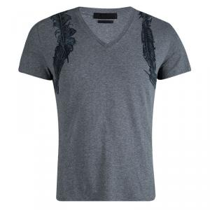 Alexander McQueen Grey Feather Print  V-Neck T-Shirt M