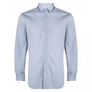 Alexander McQueen Blue and White Striped Button Front Long Sleeve Shirt XXL