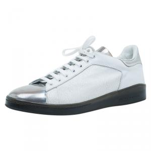 Alexander McQueen Metallic Leather Panelled Sneakers Size 43