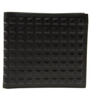 Balenciaga Black Leather Grid Square Wallet