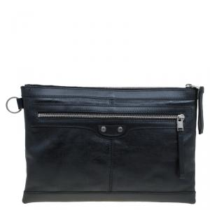 Balenciaga Black Leather Medium Clip L Clutch