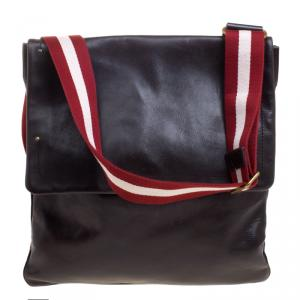 Bally Dark Brown Leather Messenger Flap Bag