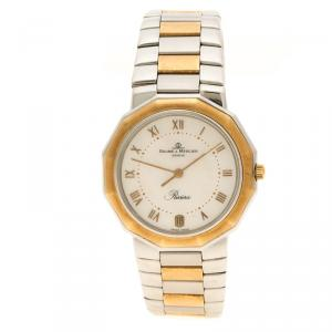 Baume and Mercier Mother of Pearl Stainless Steel and Yellow Gold Riviera Men's Wristwatch 34 mm