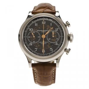 Baume and Mercier Black Stainless Steel Capeland Flyback Chronograph Men's Wristwatch 42MM